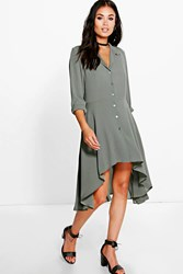 Boohoo Midaxi Shirt Dress Khaki