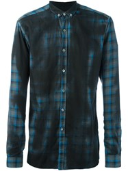 Lanvin Spray Paint Checked Shirt Black