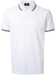 Kent And Curwen Striped Collar Polo Shirt White