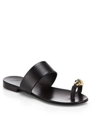 Giuseppe Zanotti Metallic Lion Toe Ring Leather Sandals Dark Brown