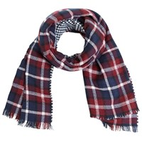 Miss Selfridge Duo Check Scarf Burgundy