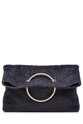 Victoria Beckham Spiral Clutch With Leather And Shearling Blue