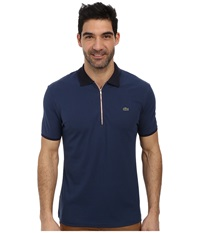 Lacoste Pique Pima Stretch Slim Fit Polo With Zipper Placket Philippines Blue Navy Blue Burgundy Men's Short Sleeve Pullover