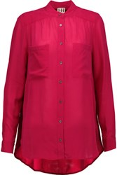 Haute Hippie Crepe Blouse Red