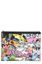 Kenzo Cartoon Print Nylon Zip Pouch