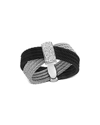Alor Diamond Black And Gray Multi Band Cable Ring Black Gray