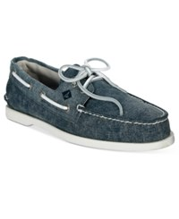 Sperry Men's White Cap Canvas Boat Shoes Men's Shoes Navy