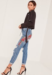 Missguided Blue High Rise Red Floral Mom Jeans