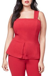 Rachel Roy Plus Size Women's Convertible Peplum Bustier Ruby
