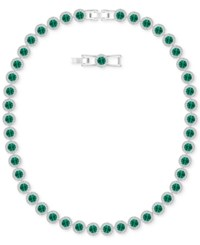 Swarovski Silver Tone Green Crystal All Around Collar Necklace