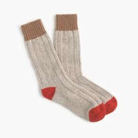 J.Crew Donegal Wool Blend Cable Knit Socks Natural Donegal