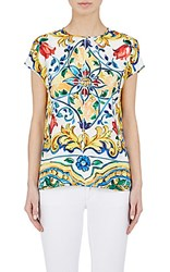 Dolce And Gabbana Women's Floral Print Silk Blouse White Yellow No Color