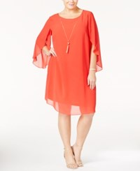 Msk Plus Size Flutter Sleeve Shift Dress Coral