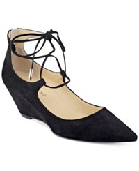 Ivanka Trump Winogrand Lace Up Wedge Pumps Women's Shoes Black