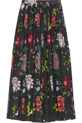 Adam By Adam Lippes Pleated Floral Print Voile Wrap Skirt Black