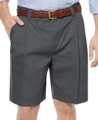 Geoffrey Beene Big And Tall Shorts Extender Waist Double Pleat Shorts Graphite