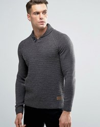 Threadbare Shawl Neck Jumper Grey