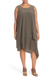 Plus Size Women's Eileen Fisher Layered Asymmetrical Silk Round Neck Knee Length Dress