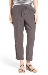 Petite Women's Caslon Linen Tie Front Crop Pants Grey Ebony