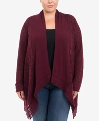 Eyeshadow Trendy Plus Size Mixed Knit Cardigan Red