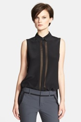 Vince Silk Sleeveless Button Up Blouse Black