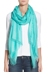 Women's Nordstrom Cashmere And Silk Wrap Blue Teal Ripple