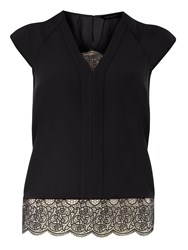 Dorothy Perkins Double Layer Lace Top Black
