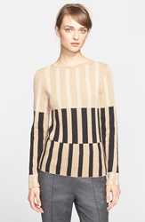 Escada Stripe Wool Silk And Cashmere Sweater Caramel