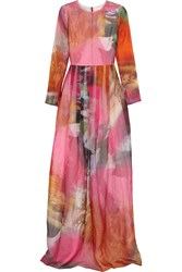 Matthew Williamson Printed Silk Organza Gown Pink