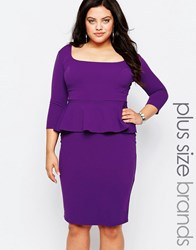 Goddiva Plus Pencil Dress With Peplum Purple