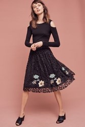 Anthropologie Pleated Lace Embr Skirt Black Motif