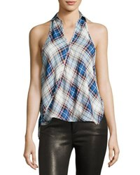 Bishop Young Crossover Plaid Print Blouse Multi Pattern