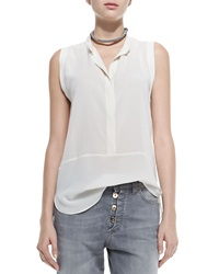 Brunello Cucinelli Sleeveless Hidden Placket Silk Henley Blouse White
