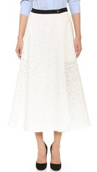 Tome Rose Lace A Line Skirt White