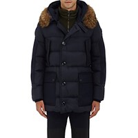 Moncler Men's Fur Trimmed Quilted Hooded Parka Navy