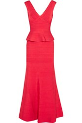 Herve Leger Bandage Peplum Gown Red