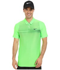 Nike Tiger Woods Velocity Hypercool Print Polo Voltage Green White Black Reflect Black Men's Short Sleeve Pullover