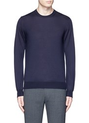 Isaia Cashmere Silk Sweater Blue