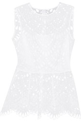 Oscar De La Renta Embroidered Silk Peplum Top White