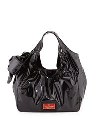 Valentino Patent Side Bow Hobo Bag Black