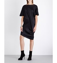 Ann Demeulemeester Draped Stretch Silk Satin T Shirt Black