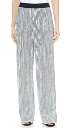 Maiyet Wide Leg Pants White Navy