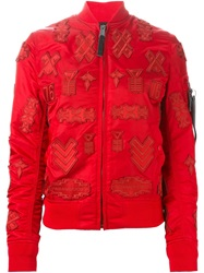 Marcelo Burlon County Of Milan Patch Detail Bomber Jacket Red