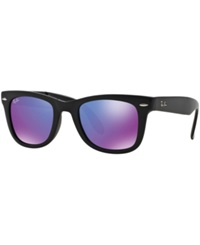 Ray Ban Sunglasses Ray Ban Rb4105 50 Folding Wayfarer Black Purple Mirror