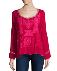 Johnny Was Puzzle Scalloped Georgette Top Women's Pinkberry