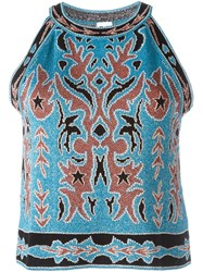 M Missoni Intarsia Sleeveless Top Blue