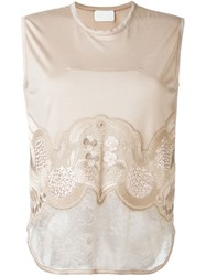 Mame Floral Embroidery Top Nude And Neutrals