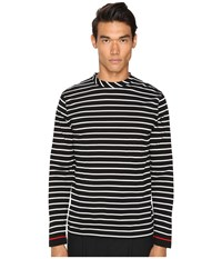 Mcq By Alexander Mcqueen Long Sleeve Crew Tee Stripe White Black