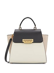 Zac Posen Eartha Top Handle Colorblock Leather Satchel Natural