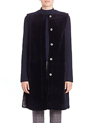Theory Gairi Deauville Shearling And Knit Jacket Navy